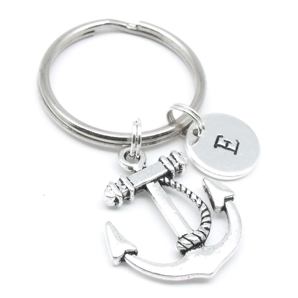 Anchor gift keyring personalised initial